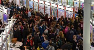 A packed hall at the 50th BT Young Scientist & Technology Exhibition at the RDS this week. Photograph: Alan Betson