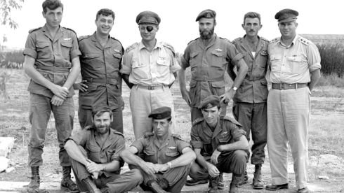 Ariel Sharon (2nd left) stands with Moshe Dayan (3rd left) and other military commanders in this handout file picture taken October 1955. Photograph: Israel's Defence Ministry/Handout/Reuters