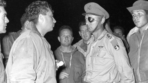 Ariel Sharon (left) stands with then chief of staff Moshe Dayan (2nd right) during an Israeli military operation. Photograph: Israel's Defense Ministry/Handout/Reuters