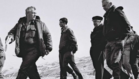 Israeli major general Ariel Sharon (left) walks with former prime minister David Ben Gurion (2nd right) and army chief of staff Haim Bar Lev (right) along the Israeli-Egyptian border in  January  1971. Photograph:  Reuters/GPO/Handout/Files