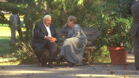 Israel's foreign minister sits on a bench with US Secretary of State Madeleine Albright during the Middle East peace summit at the Wye River Conference Centre in  October 1998. Photograph:   Reuters/Avi Ohayon/GPO/Handout/Files