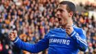 Chelsea's Eden Hazard celebrates scoring his goal against Hull City. Photograph: Nigel Roddis/Reuters