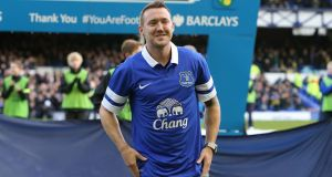 Everton's new signing Aiden McGeady is unveiled before the Barclays Premier League match against Norwich City at Goodison Park today. Photograph: Peter Byrne/PA Wire