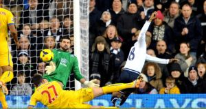 Tottenham's Jermain Defoe scores the second against Crystal Palace at White Hart Lane. Photograph: Tim Parker/PA Wire