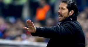 Atletico Madrid manager Diego Simeone on the sideline  during his side's meeting with Barcelona at the Vicente Calderon   stadium. Photograph: Alberto Martin/EPA