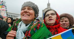 Pro-European supporters attend a rally in Independence Square in Kiev yesterday. Photograph: EPA/Sergey Dolzhenko