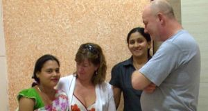Fiona Whyte and Seán Malone meet surrogate mother Shobha in the Corion Fertility Clinic in Mumbai. Photograph: RTÉ