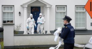 The house in Beechpark Avenue in Castleknock, Dublin where a man's body was found early this morning. Photograph: Dara Mac Dónaill/The Irish Times