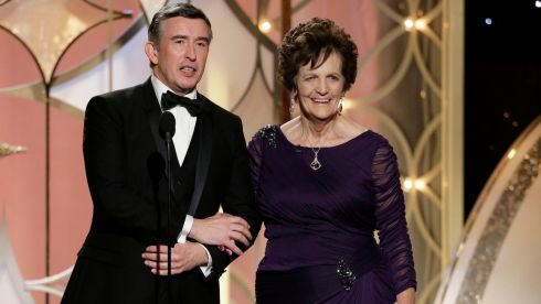 "Actor Steve Coogan  and Philomena Lee, the inspiration for the film ""Philomena"" during the 71st annual Golden Globe Awards at the Beverly Hilton Hotel yesterday."
