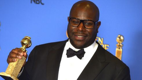 British director Steve McQueen holds the Golden Globe for Best Motion Picture - Drama for '12 Years a Slave'. Photograph: Paul Buck/EPA