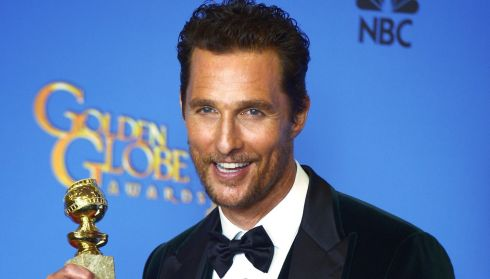Matthew McConaughey holds the Golden Globe for Best Performance in  'Dallas Buyers Club'at the Golden Globes last night. Photograph: Paul Buck/EPA