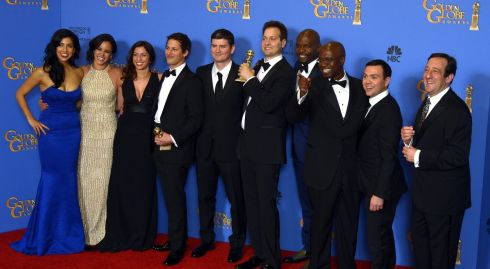 The cast of Brooklyn Nine-Nine pose with the Golden Globe for Best Television Series - at the Golden Globes in California last night. Photograph: Paul Buck/EPA