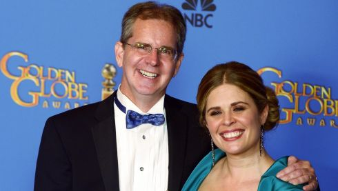 Directors Jennifer Lee and Chris Buck who won the Golden Globe for Best Animated Feature for 'Frozen' at the awards in California last night. Photograph: Paul Buck/EPA