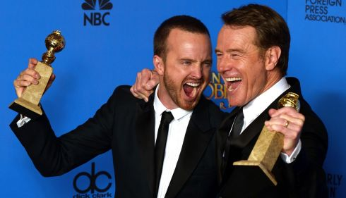 US actors Aaron Paul (L) holds the Golden Globe for Best Television Series - Drama and Bryan Cranston (R) holds the award for Best Actor - TV Series Drama for 'Breaking Bad' at the Golden Globes in California last night. Photograph: Paul Buck/EPA