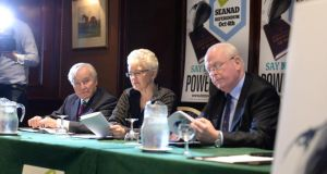 From left, Feargal Quinn, Senator Katherine Zappone and Michael McDowell SC, at a Democracy Matters event in Dublin last September. Photograph: Dara Mac Dónaill /The Irish Times