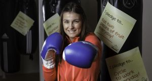 Katie Taylor helps launch Aramark's Right Track Pledge campaign. Photograph: John T Ohle Photography