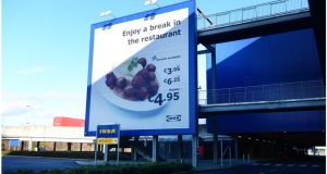A poster at the Ikea store in Ballymun in February showing the meatballs which were removed from its menu. Photograph: Bryan O'Brien