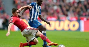 Nemanja Matic of Benfica (left) fights for the ball with Varela of FC Porto  at Luz Stadium, Lisbon, Portugal.