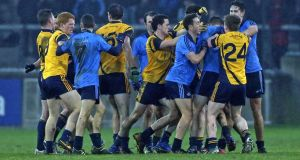 A scuffle breaks out between Dublin and DCU players during Sunday's O'Byrne Cup match. Photograph: Donall Farmer/Inpho
