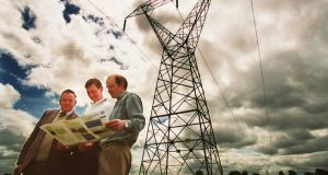 Farmers reviewing an ESB briefing document on the Flagford to Srananagh project in 2000