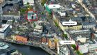 Aerial image of Mathew House (outlined) in Cork city centre which is currently occupied by AIB
