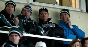 Kildare manager Jason Ryan watches an O'Byrne Cup game from the stand with his selectors Ronan Quinn and Damien Hendy. Photograph: Ryan Byrne/Inpho.