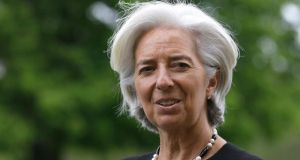 Christine Lagarde, the managing director of the IMF, expressed disappointment but put a brave face on the failure to pass quota reform. Photograph:  Alastair Grant/PA Wire
