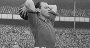 Everton's wing-half captain Peter Farrell in 1955. Photograph: Getty Images