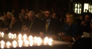 Family and friends attend a memorial prayer vigil for Tom O'Gorman,  who was killed at his home in Castleknock, Dublin at the weekend, held in St Teresa's Church, Clarendon Street, Dublin last night. Photograph: Dara Mac Dónaill/The Irish Times