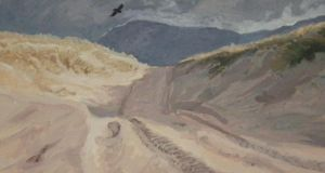 Tracks of Thallabawn: grey dunes backed by machair. Illustration: Michael Viney