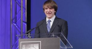 Jack Andraka speaks after receiving Smithsonian Magazine's first annual American Ingenuity Award for youth achievement.  photograph: brendan hoffman/getty images