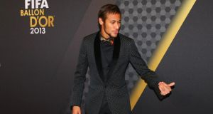 Barcelona forward Neymar at the Fifa Ballon d'Or Gala  at the Kongresshalle  in Zurich, Switzerland. Photograph: Martin Rose/Bongarts/Getty Images