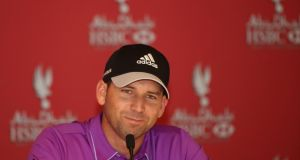 Sergio García of Spain addresses the media during a press conference prior to the start of the Abu Dhabi HSBC Golf Championship, United Arab Emirates. Photograph:  Andrew Redington/Getty Images