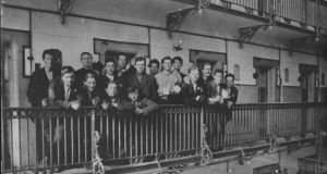 Prisoners, captured after the Rising, on the balcony of E block in Stafford Prison, England, in 1916.