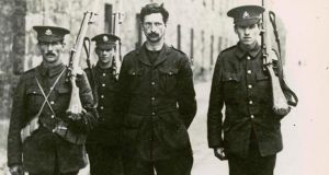 Eamon de Valera  under arrest in Richmond Barracks after the 1916 Rising. De Valera was in command in Boland's Mills