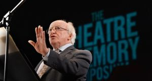 President Higgins addressing 'The Theatre of Memory Symposium' at the Abbey Theatre, a three day debate on the role of theatre in commemoration in this time of historical centeraries. Photograph: Alan Betson / The Irish Times