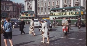Dublin's College Green on June 7th, 1961 at 5.15pm. Photograph: Charles Cushman: From the University of Indiana Collection