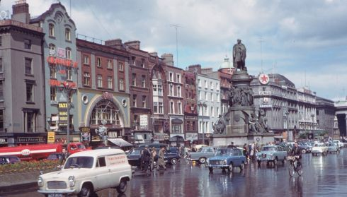 A statue of Daniel O'Connell looks down on a rainy day on June 8th, 1961. Not all that different to today really. Bringing bygone Dublin back to life, Dublin Through a Lens, running at the Little Museum of Dublin, is a collection of photographs from 1961, being exhibited in Ireland for the first time. Indiana surveyor Charles Cushman was an enthusiastic amateur photographer who visited Dublin in 1961. Shooting only on Kodachrome, he captured many of the most iconic sights of the city. Photograph: Charles Cushman