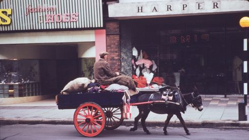 Horse and cart in south Great Georges Street, Dublin, photographed on June 8th, 1961.  Photograph: Charles Cushman
