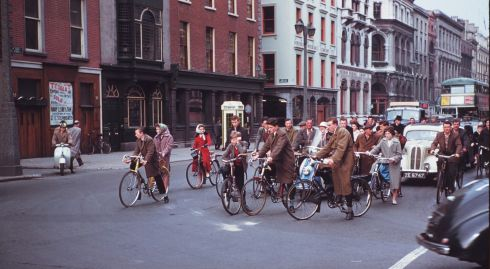 Cyclists waiting for a green light in Dame Street at the junction with South Great Georges Street. Photograph: Charles Cushman