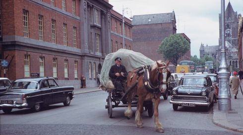 Dray horse and driver at work on Dame Street. Photograph: Charles Cushman