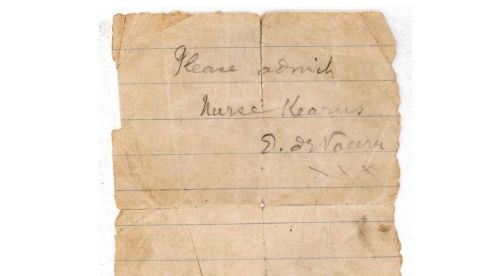 A note written by Eamon de Valera whcih Linda Kearns MacWhinney stated was given to her by de Valera to allow admittance to Irish outposts during the 1916 rising to deliver and receive despatches. De Valera later  verified its validity in a letter.