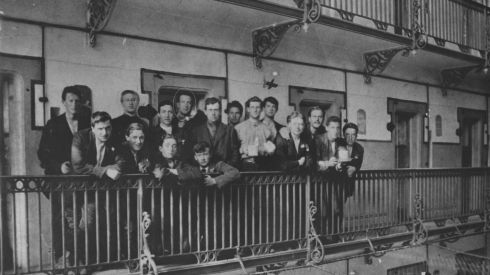 Photograph of Irish prisoners on the balcony of E Block in stafford jail in 1916. Circled in the back row is Eamonn Bulfin who served in the GPO and was interned until December 1916.  He was later involved in the purchase of arms in Argentian for the Irish Volunteers and the IRA.