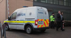 A Garda van containing Saverio Bellante is brought before Blanchardstown District Court, Dublin on Monday where he was accused of killing Tom O'Gorman. Photograph: Niall Carson/PA Wire