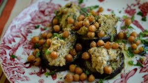 Aubergine and chickpea smash. Photograph: Cyril Byrne