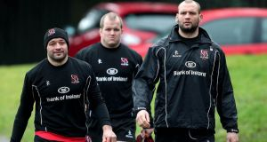Ulster forwards Rory Best, Callum Black and Dan Tuohy arrive for training at  Pirrie Park in Belfast on Thursday. Photograph: Brian Little/Inpho/Presseye