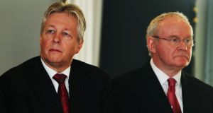 Northern Ireland First Minister Peter Robinson (left) and deputy First Minister Martin McGuinness: Photograph: Brian Lawless/PA Wire