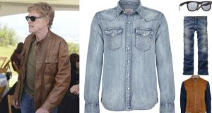 ROBERT REDFORD: light denim shirt, €120 by Replay at Arnotts; black wood-framed sunglasses, €21 at Topman (£14 on topman.com); blue denim jeans, €63 at Timberland (timberlandireland.ie); brown bomber jacket with contrast sleeves, €110 at River Island.
