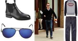 MICHAEL FASSBENDER: Chelsea ankle boots with Gore-tex, €295 at Dubarry (dubarry.com); aviator sunglasses, €3 at Penneys; Enduro sweatshirt, €126 (£120) by Barbour at House of Fraser; organic dry-denim jeans, €100 by Nudie at mrporter.com.