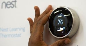Nest's products include a self-learning, smartphone-controlled thermostat that learns your movements and adjusts temperature accordingly. Photograph: David Paul Morris/Bloomberg